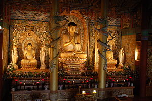 Buddha statues in a temple on Jejudo, South Korea