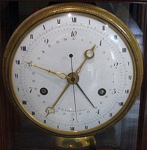 A clock made in Revolutionary France, showing ...
