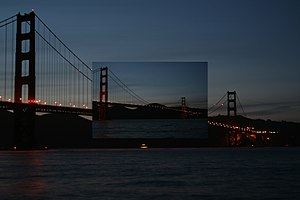 Golden Gate Bridge during Earth hour. Insert s...