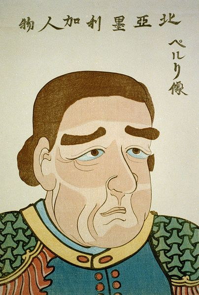 1854 japanese woodblock print of U.S. Navy Commodore Matthew C. Perry. Peabody Museum: The characters located across the top read from right to left, A North American Figure and Portrait of Perry. According to the Peabody Essex Museum, this print may be one of the first depictions of westerners in Japanese art, and exaggerates Perrys western features (oblong face, down-turned eyes, bushy brown eyebrows, and large nose).  But compare with photo above, right.  Peabody Museum holding, image from Library of Congress via WikiMedia