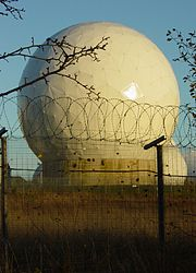 A radome at RAF Menwith Hill, a site with satellite downlink capabilities that some believe to be used by ECHELON