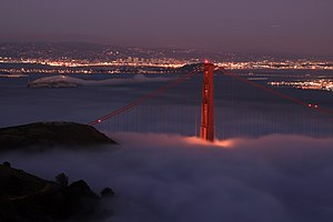 Night shot of Golden Gate Bridge and San Francisco