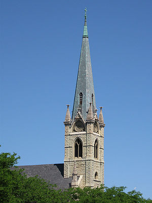 Steeple of St. James Catholic Church in Chicag...