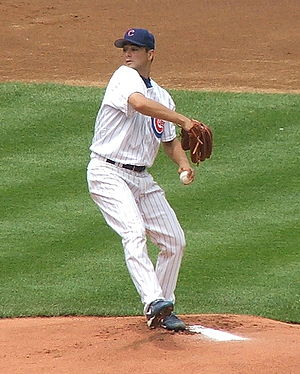 Ted Lilly of the Chicago Cubs throwing a pitch...