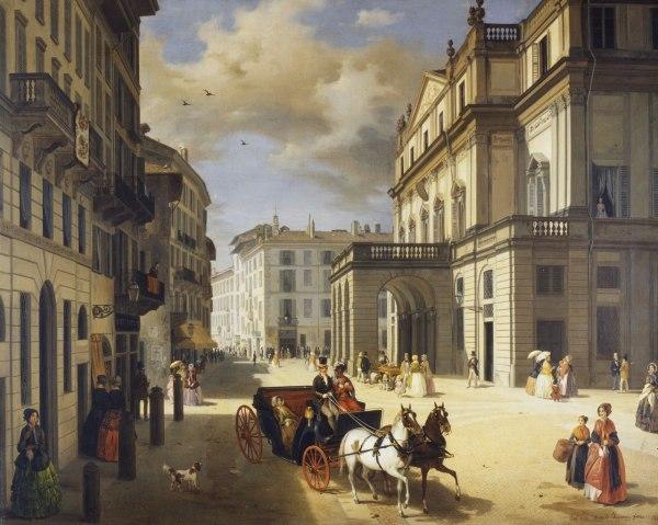 File:Angelo Inganni, la facciata del Teatro alla Scala ...