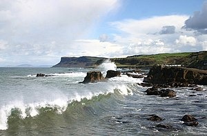English: Ballycastle waves Taken from the brid...