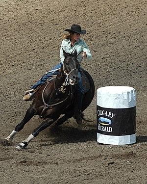 Barrel racing at the Calgary Stampede