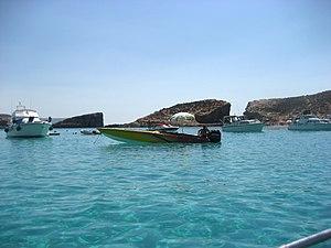 English: The Blue Lagoon at boat level with Ke...