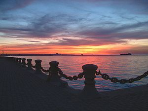 Sunset over Lake Erie from Voinovich Park