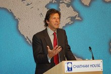 Imran Khan speaking at the Chatham House in London