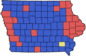 2008 Iowa Republican Caucus county Map with th...