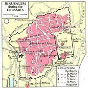 Hartă a Ierusalimului, arătând locul cartierului general al templierilor pe Muntele Templului