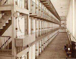A photograph of a cell block in the Wisconsin ...