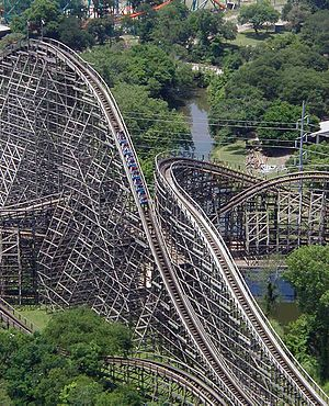 The Texas Giant'', a large wooden roller coast...
