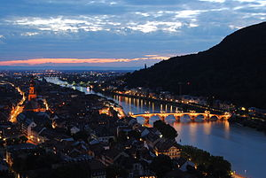 English: Heidelberg at Night from the castle