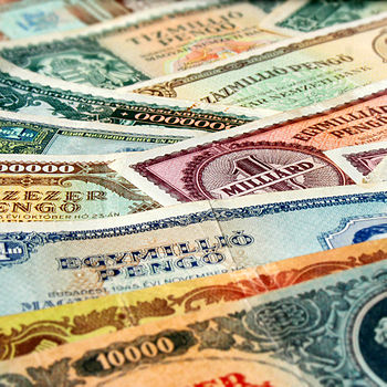 English: Inflations - Hungarian paper money, 1...