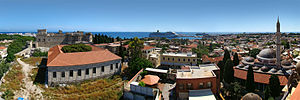 Rhodes, Greece. Panorama seen from the top of ...