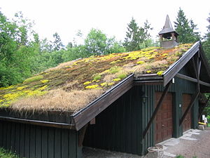 Sod roof / grass roof in Oslo, Norway.