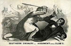 A political cartoon depicting Preston Brooks's...