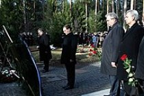 Medvedev and Polish President Bronislaw Komorowski laying wreaths at the Katyn massacre memorial complex, 11 April 2011