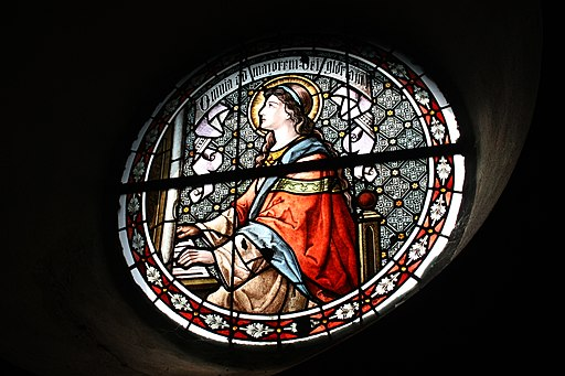 St Cecilia as an organist on a stained glass window: Eckendorf(Grafschaft) St.Cosmas und Damian Fenster514