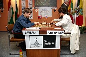 Carlsen (blancas) vs. Aronian (negras)