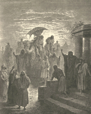 Meeting of Isaac and Rebekah (engraving by Gus...
