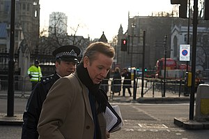 Michael Gove outside the Palace of Westminster