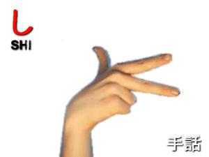 Japanese sign language - SHI: a JSL 7 hand: th...