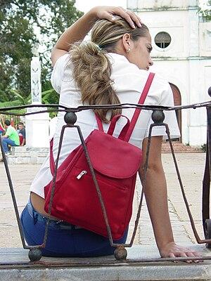 Young woman in school uniform, Vinales, Cuba. ...