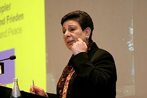 Dr. Hanan Ashrawi - leaving the pragmatic approach in favor of the extremists? (Image via Wikipedia)