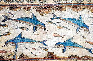 Fresco of Dolphins, ca. 1600 BC, from Knossos,...