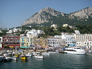 Island of Capri from a boat offshore.