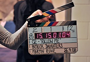 A Denecke TS-3 clapperboard in use during the ...