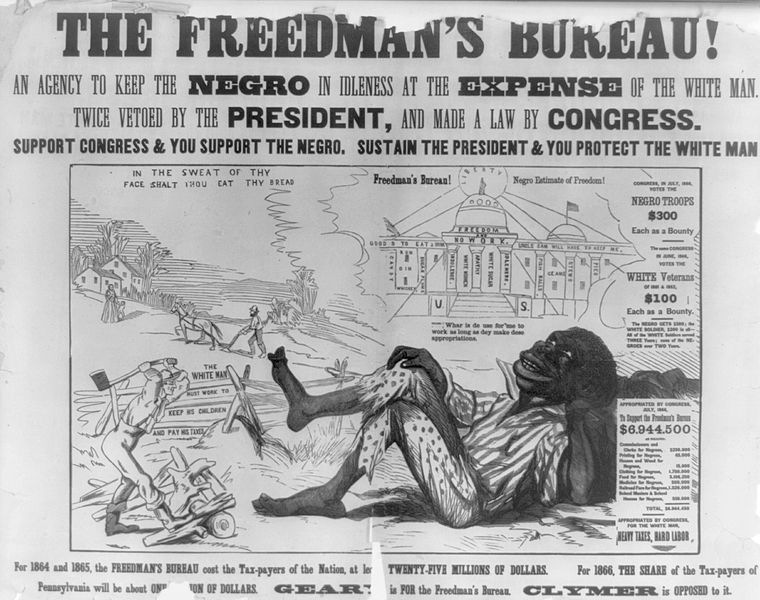Cartoons Opposed to The Freedman's Bureau. Courtesy - wikimedia.). Click for larger image.