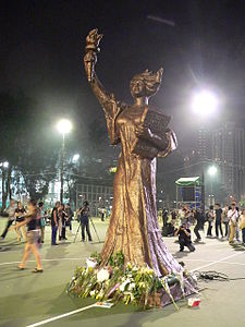 "Image result for 1989 –The 33-foot high ""Goddess of Democracy"" statue is unveiled in Tiananmen Square by student demonstrators"