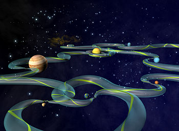 Artist's concept of the Interplanetary Transport Network. The green ribbon represents one possible path from among the infinite number possible within the larger bounding tube. Constricted areas represent locations of Lagrange points. Credit NASA
