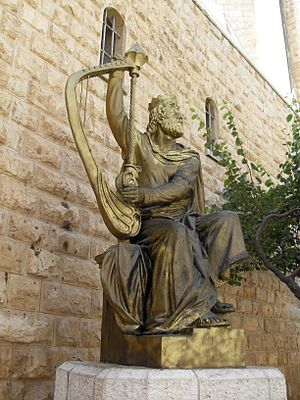 English: Jerusalem Mount Sion King David Statu...