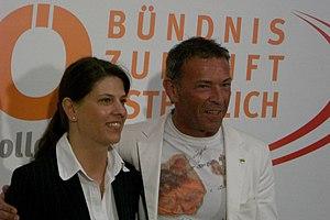 Deutsch: Martina Schenk mit Jörg Haider währen...