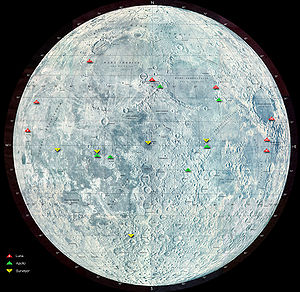 Map of the moon showing some landing sites. (C...
