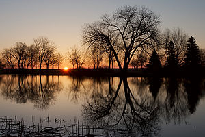 Sunrise over Veterans Park, Milwaukee, Wiscons...