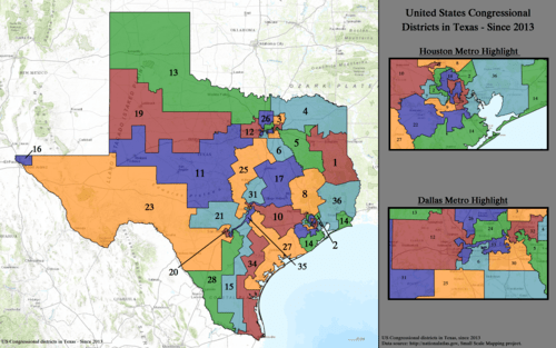 United States congressional delegations from Texas   Wikipedia 2013     Present  United States Congressional Districts in Texas  since  2013 2  tif