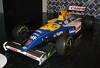 O Williams FW14B de Nigel Mansell, usado em 1992. Neste ano Mansell foi campeão de pilotos, e a Williams campeã nos construtores