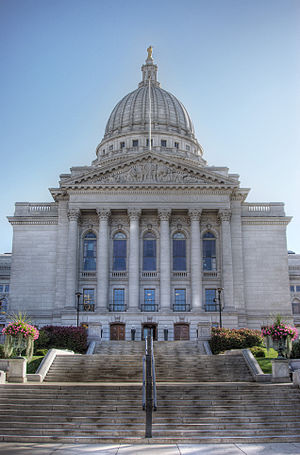Looking up at the Wisconsin State Capitol from...