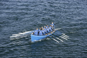 English: 'Ormurin Langi' a Faroese rowing boat...