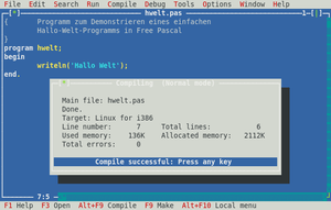 Screenshot of the Free Pascal IDE with German ...