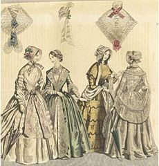 Die Mitte der 1840er Jahre sah Tageskleider mit V-förmigen Ausschnitten, die von einem Hemd für Anstand bedeckt wurden. Die Rockweiten wurden durch den Petticoat aus Rosshaar erweitert und zusätzliche Volants wurden für die Betonung und Dekoration hinzugefügt.