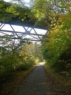 English: Palmer Bike Path underneath Rt. 33 Le...