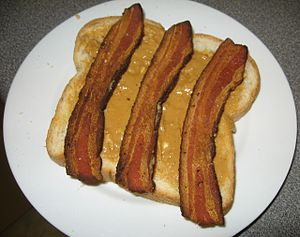 Peanut butter sandwich topped with bacon
