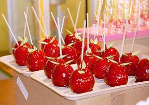 Candy apples on display. mondial de la maquett...